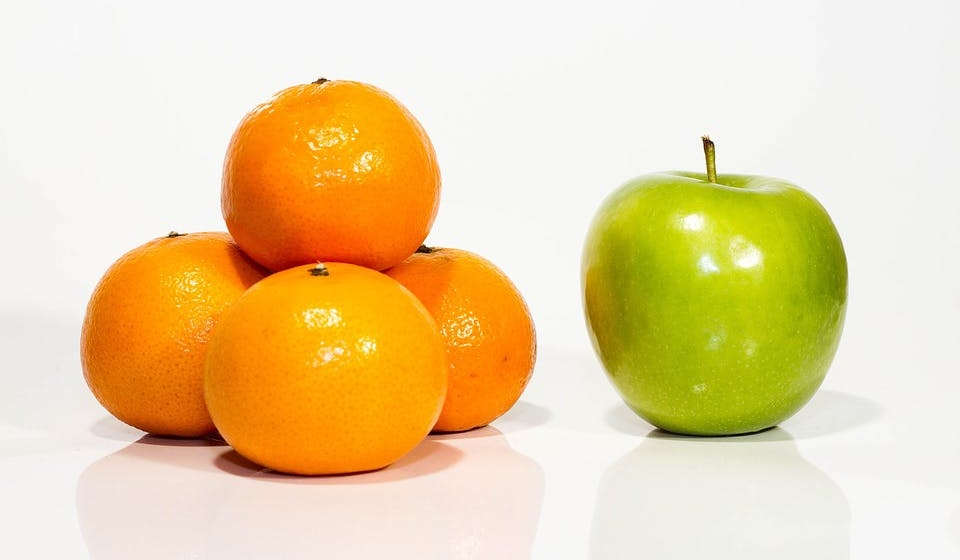 An Image depicting apples and oranges, tying into an article about setback arguments being built on flawed comparisons.