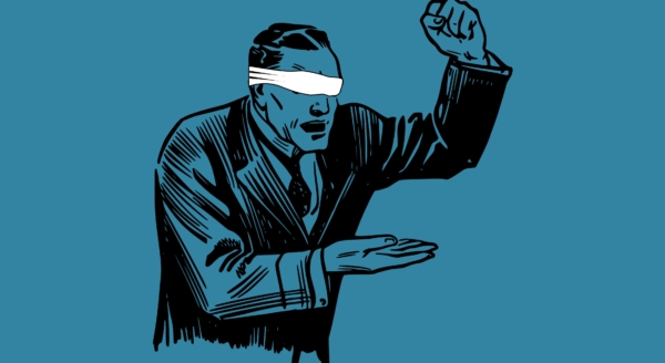 Illustration of a blindfolded man putting his fist down.