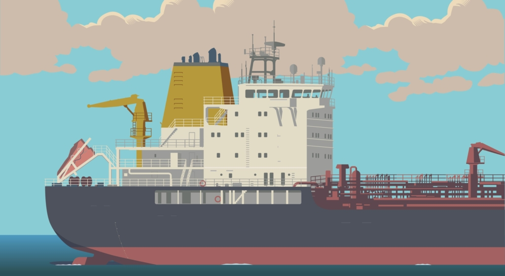 Illustration of a large tanker, tying into the article about attacks on tankers and the risks of dependence on foreign oil.