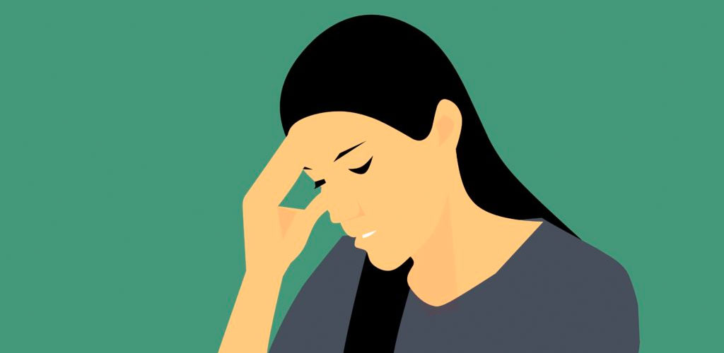 Illustration of a disappointed woman rubbing her forehead