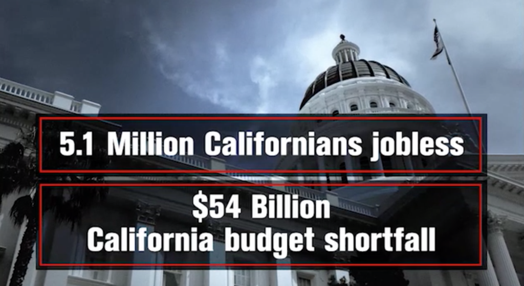 Banner: 5.1 million Californians jobless, $54 billion California budget shortfall.